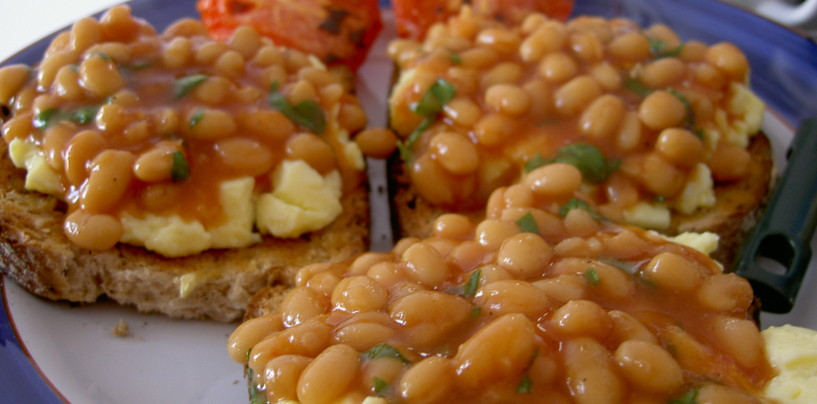 Baked Beans and Scrambled Eggs on Toast