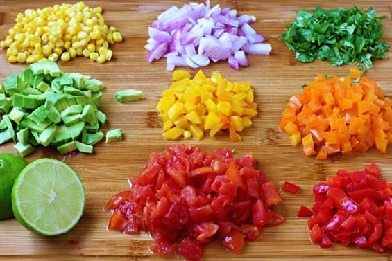 colourful summer salsa ingredients