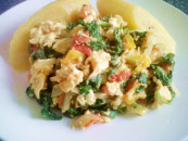 Spinach-scrambled egg sauce recipe